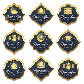 Coleção de rótulos de ramadan de luxo