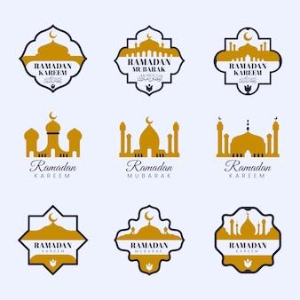 Coleção de rótulos de ramadan plana