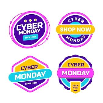 Coleção de rótulos de segunda-feira cibernética plana