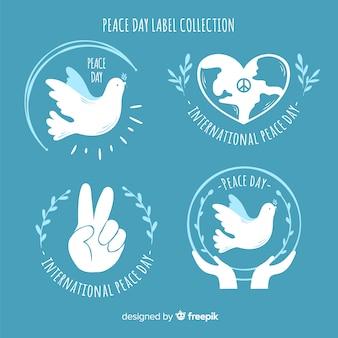Coleção de rótulos de sinais de paz e símbolos