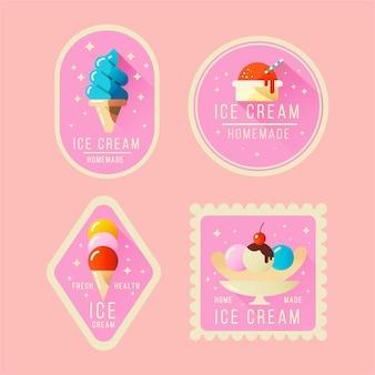 Coleção de rótulos de sorvete simples