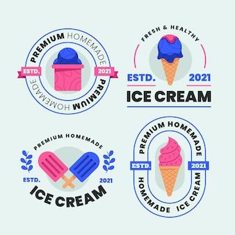 Coleção de rótulos de sorvetes de design plano