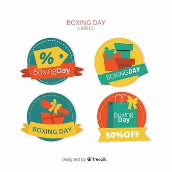Coleção de rótulos de venda de dia de boxe