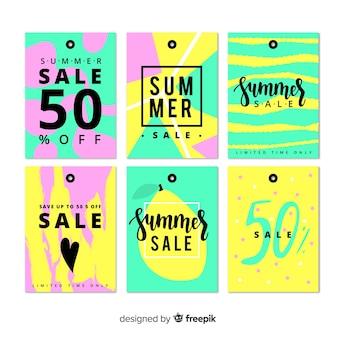 Coleção de rótulos de venda de verão colorido