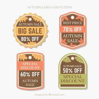Coleção de rótulos de venda outono em estilo simples