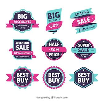 Coleção de rótulos de vendas modernas com design plano