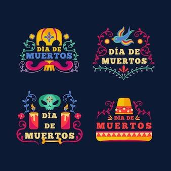 Coleção de rótulos dia de muertos em design plano