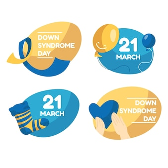 Coleção de rótulos do dia da síndrome de down do mundo plano