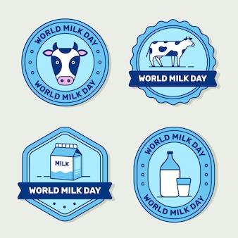 Coleção de rótulos do dia do leite no mundo plano