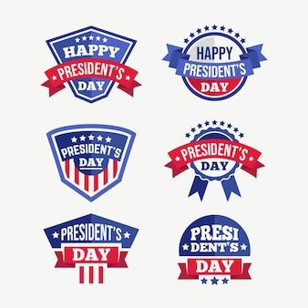 Coleção de rótulos do dia do presidente