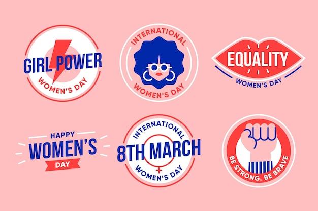 Coleção de rótulos do dia internacional da mulher