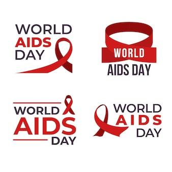 Coleção de rótulos do dia mundial da aids