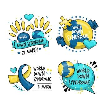 Coleção de rótulos do dia mundial da síndrome de down desenhada à mão