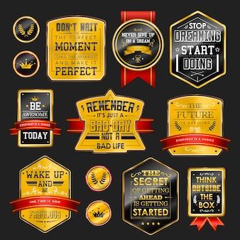 Coleção de rótulos dourados cintilantes de qualidade premium sobre preto