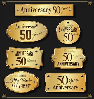 Coleção de rótulos dourados de aniversário elegante