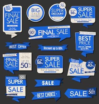 Coleção de rótulos e etiquetas de banners de venda moderna