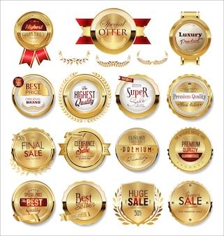 Coleção de rótulos e etiquetas de emblemas dourados