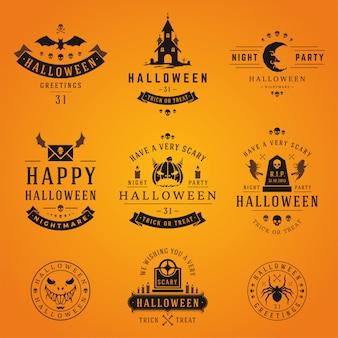 Coleção de rótulos e logotipos de halloween