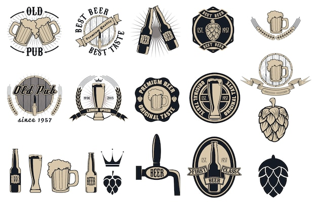 Coleção de rótulos, emblemas e ícones de pub de cerveja
