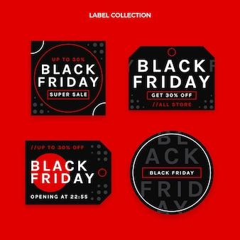 Coleção de rótulos flat black friday