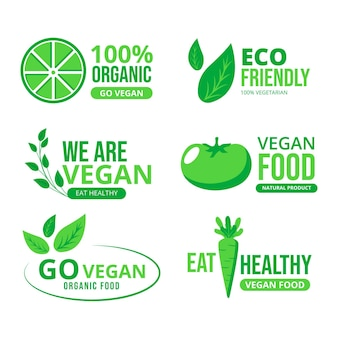 Coleção de rótulos vegetarianos de design plano