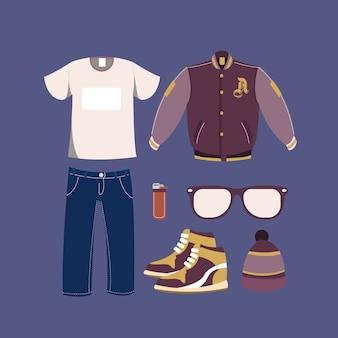 Coleção de roupas de inverno casual menino