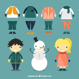 Coleção de roupas de inverno com filhos adoráveis e boneco de neve