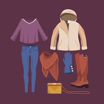 Coleção de roupas de inverno das mulheres