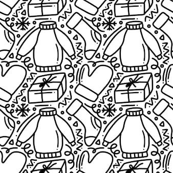 Coleção de roupas de inverno desenhada à mão doodle padrão de conjunto com ícones e elementos de design
