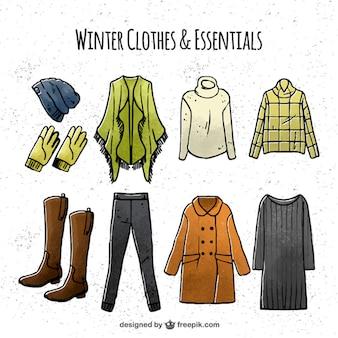 Coleção de roupas de inverno desenhada à mão
