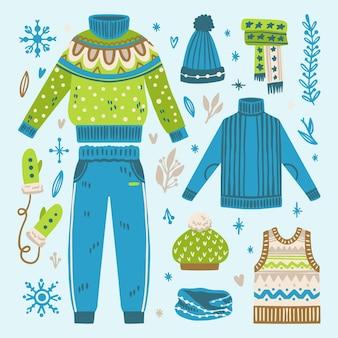 Coleção de roupas de inverno desenhadas