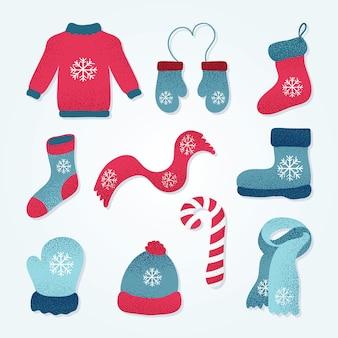 Coleção de roupas de inverno, fofa com estilo desenhado à mão