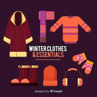 Coleção de roupas de inverno moderno com design plano