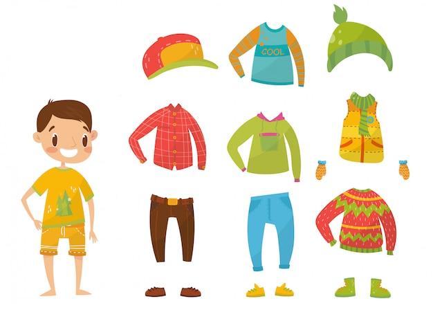 Coleção de roupas de meninos, conjunto de roupas e acessórios ilustrações