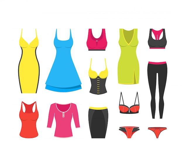 Coleção de roupas de mulher