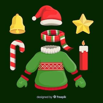 Coleção de roupas de natal plana