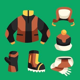 Coleção de roupas e fundamentos de inverno