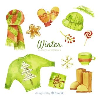 Coleção de roupas e itens essenciais de inverno