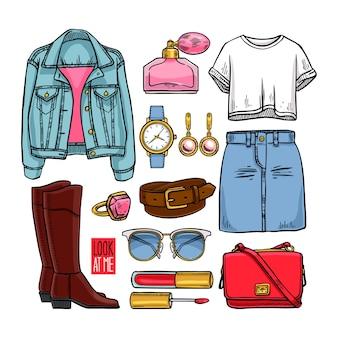 Coleção de roupas femininas e acessórios. ilustração desenhada à mão
