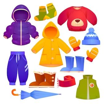Coleção de roupas infantis de outono e inverno dos desenhos animados