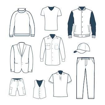 Coleção de roupas masculinas em um estilo linear