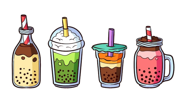 Coleção de sabores de chá de bolha desenhada à mão
