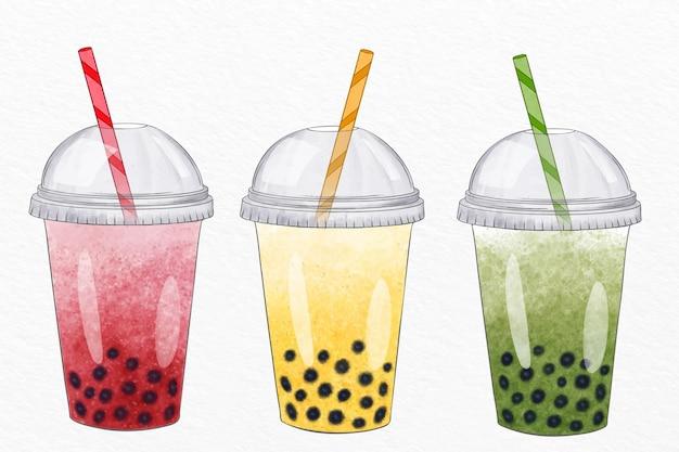 Coleção de sabores de chá de bolhas de estilo desenhado à mão