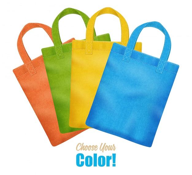 Coleção de sacolas de lona colorida moderna