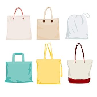 Coleção de sacolas de tecido plano