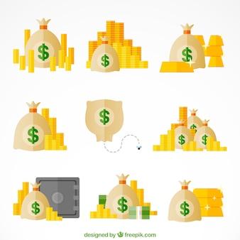 Coleção de sacos de dinheiro com moedas em design plano