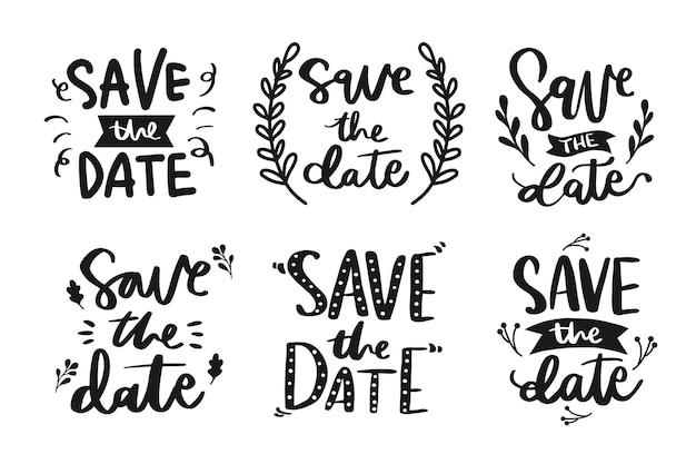 Coleção de salvar as letras de data