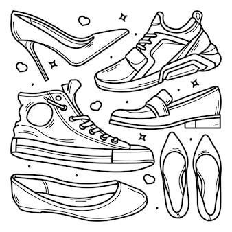 Coleção de sapatos doodle