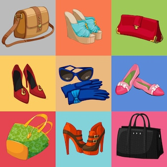 Coleção de sapatos e acessórios de bolsas de mulheres