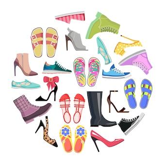 Coleção de sapatos no quadro redondo banner isolado